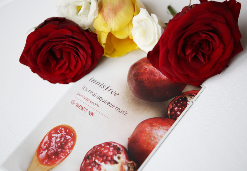innisfree its a real squeeze pomegranate sheet mask